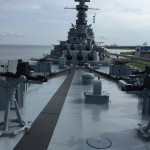 Photo while standing on the bow of a really, really big battleship